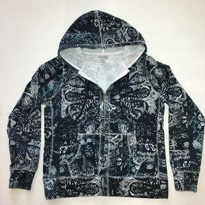 🍀LUCKY BRAND Navy / White Zip Hoodie Sweatshirt